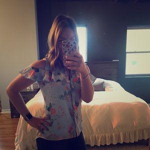 Cold shoulder, floral blouse